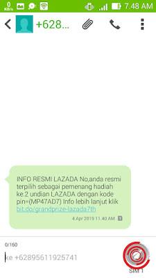 INFO RESMI LAZADA No,anda resmi terpilih sebagai pemenang hadiah ke.2 undian LAZADA dengan kode pin=(MP47AD7) Info lebih lanjut klik bit.do/grandprize-lazada7th