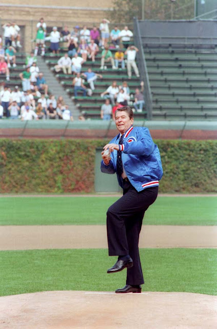 President Ronald Reagan, ceremonial opening pitch, Wrigley Field, 1988
