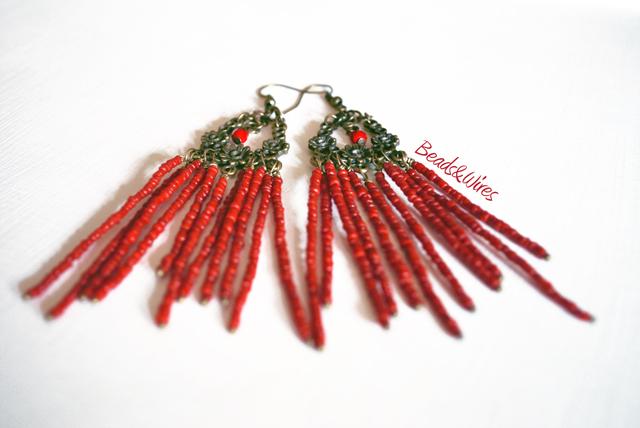 Beads orecchini rossi