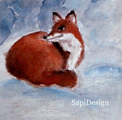 vesiväri akavarelli kettu kortti kuva kuvitus joulu SapiDesign
