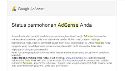 penolakan adsense karena situs belum layak menjadi publisher google adsense