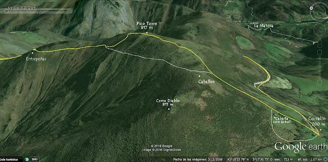 Mapa ortográfico 1 Pesquerín - Pico Torre - Piloña