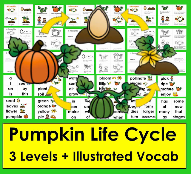https://www.teacherspayteachers.com/Product/Pumpkins-Life-Cycle-Readers-3-Reading-Levels-Illustrated-Word-Wall-2167437