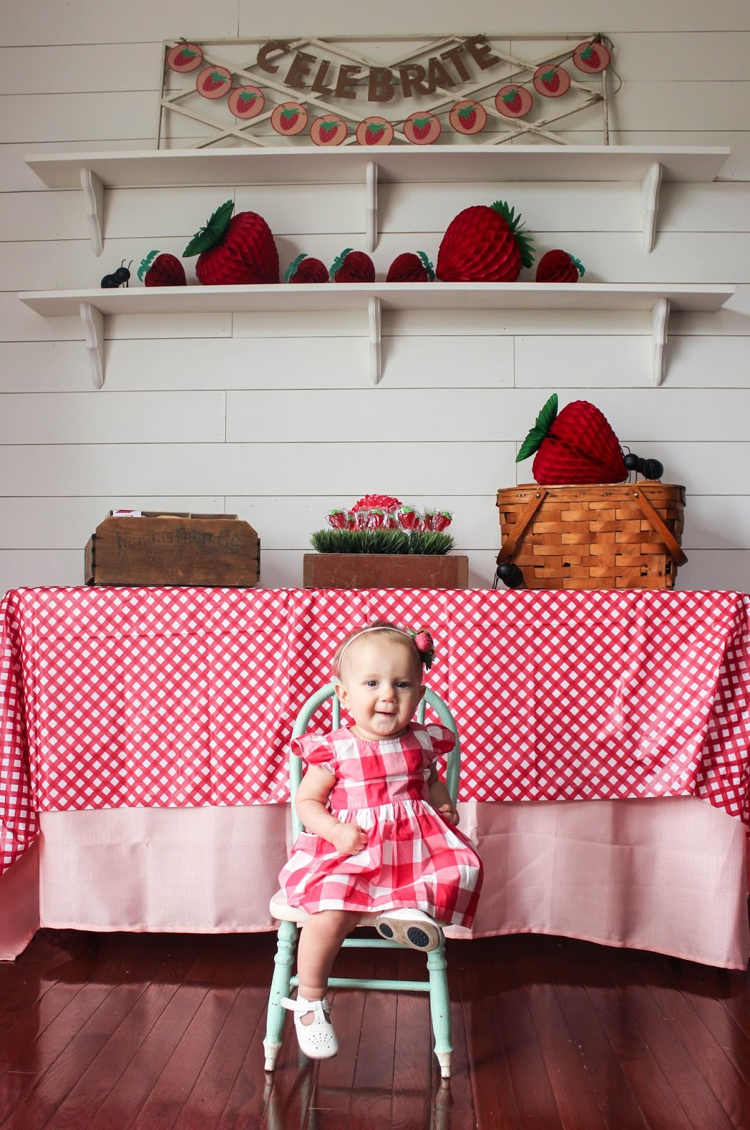 strawberry themed first birthday party