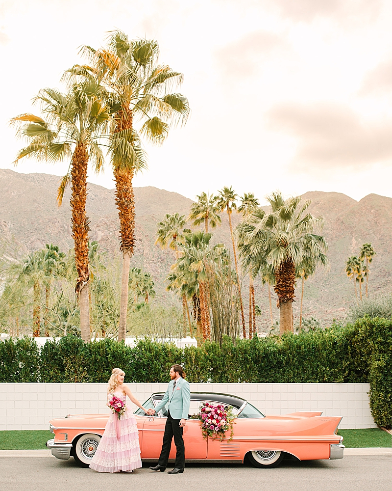 Colorful Retro Palm Springs Engagement Session