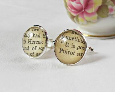 hercule poirot cuff links suit accessories bookworm gift two cheeky monkeys