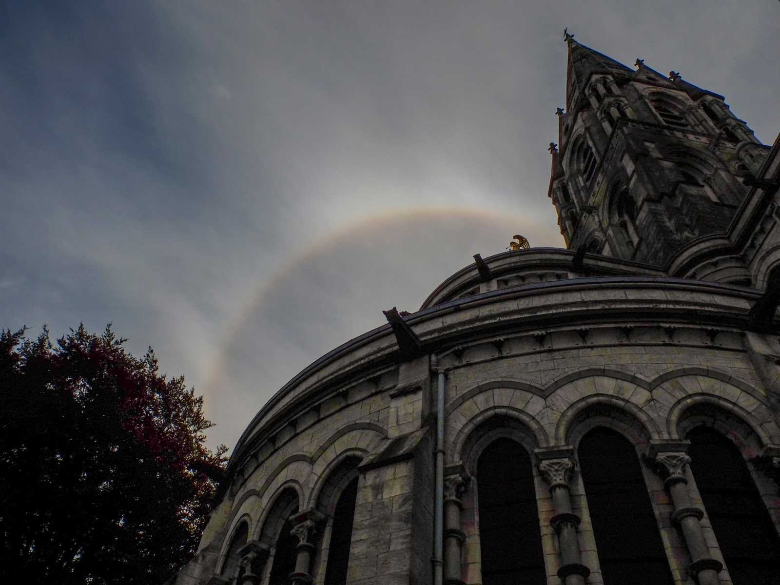 An aura over the back of Saint Fin Barre's Cathedral in Cork City.