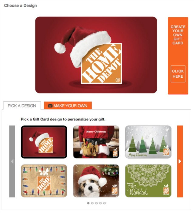 The Home Depot gift card options