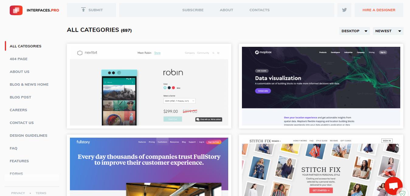 Temukan Inspirasi Desain Web UI dengan Interfaces.pro