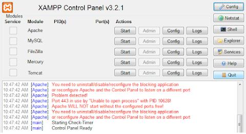 Merubah Port Apache Pada Xampp / Error Port Apache Pada Xampp