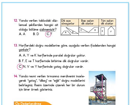 3. Sınıf Berkay Yayınları Matematik Çalışma Kitabı 56. Sayfa Cevapları 2. Ünite Değerlendirmesi