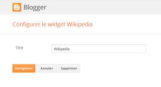 Panneau de configuration du gadget Wikipedia
