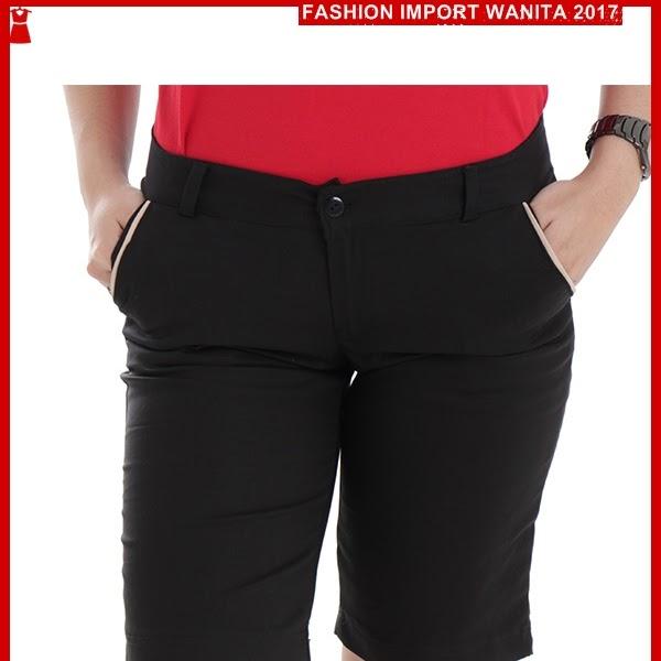 ADR189 Celana Hitam Medium Pendek Wanita Import
