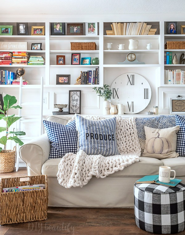 built ins and cozy decor