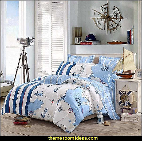 Exploring Coastline - nautical bedroom ideas - decorating nautical style bedrooms