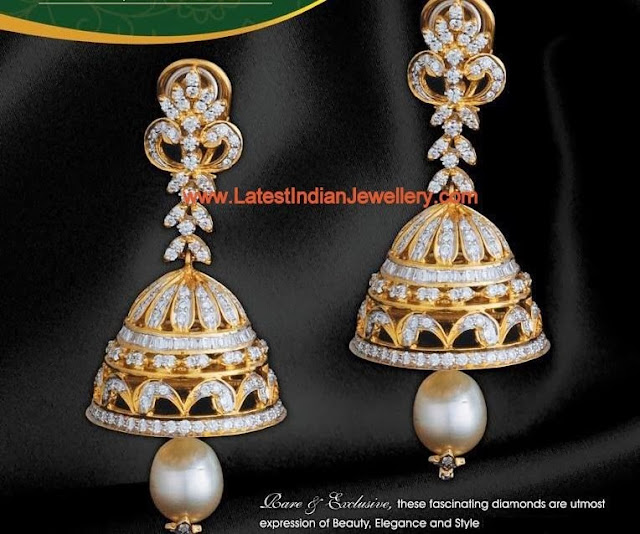 Designer Diamond Jhumka Earrings Latest Indian Jewellery