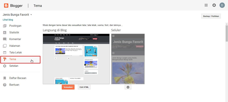 Mengganti Kode Template Blog