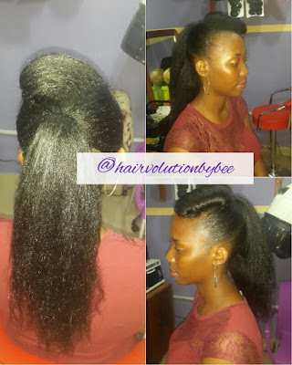 relaxed hair updo, texlaxed hair