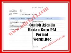 Contoh Agenda Harian Guru PAI Format Words.Doc