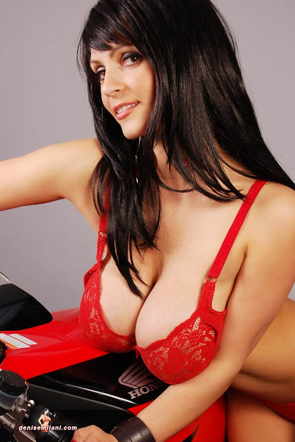 Denise-Milani-Bike-Photoshoot-in-red-hot-bikini-picture-28