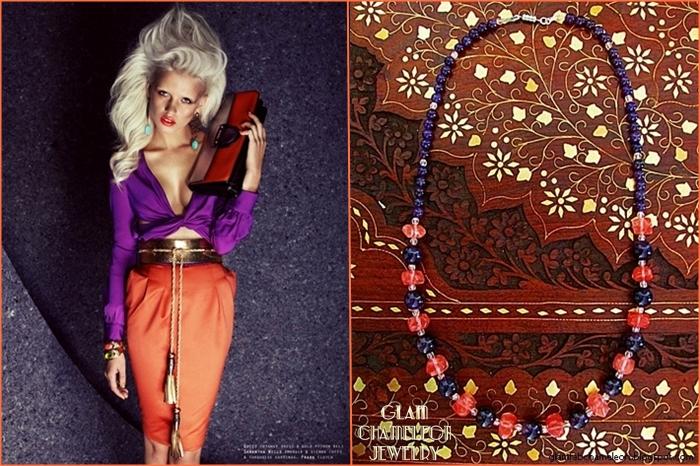 Glam Chameleon Jewelry amethyst and cherry quartz necklace
