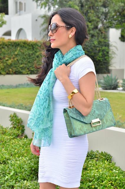 Joanna Joy petite fashion blogger style blogger green and gold handbag green python print scarf Gucci glasses