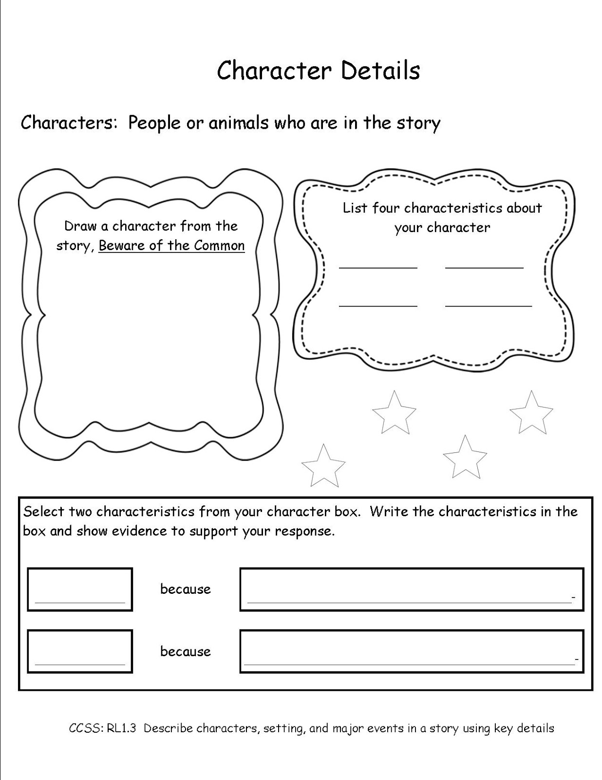 Common Core Activities Character Details First Grade Ccss Rl 1 3