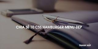 CHIA SẺ 10 CSS HAMBURGER MENU ĐẸP