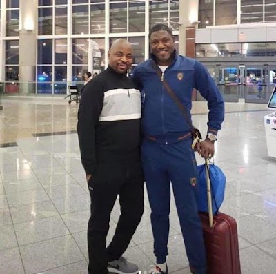 MC Oluomo back home after undergoing treatment in the US