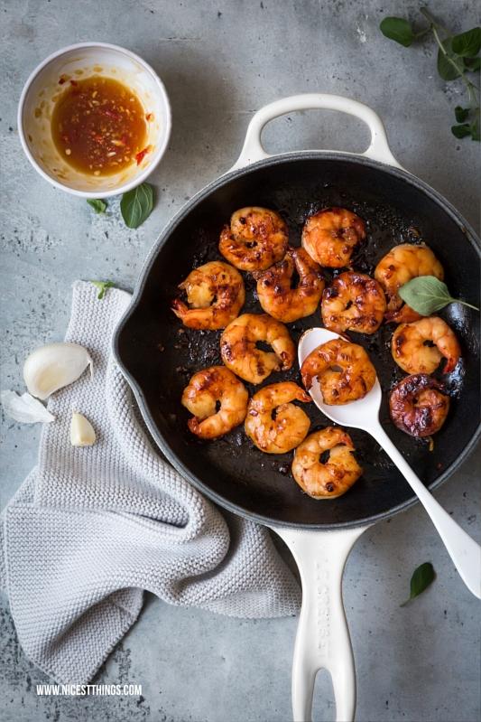 Black Tiger Prawns Garnelen Scampi Shrimps mit Honig, Knoblauch, Chili glasiert