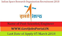 Indian Space Research Organisation Recruitment 2018– Scientist/Engineer