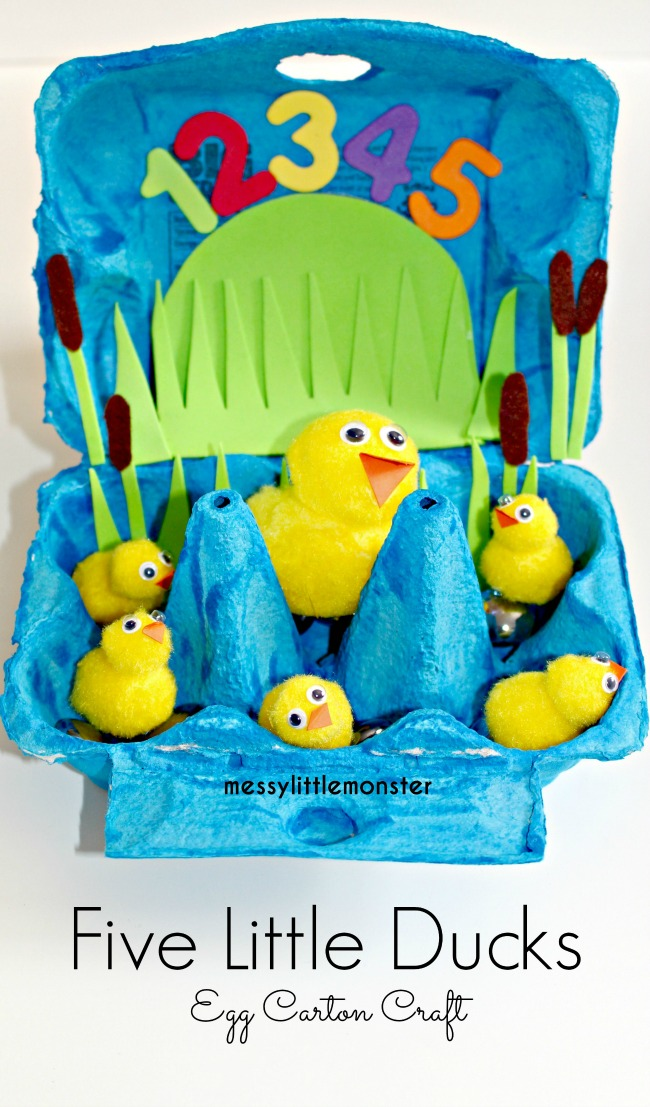 Five little ducks egg carton craft for kids.  Great nursery rhyme activity for toddlers and preschoolers.