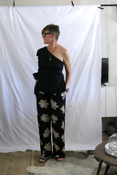 one shoulder blouse floral pants