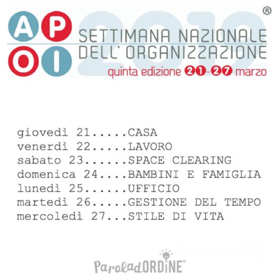 Paroladordine Settimana dell'organizzazione Apoi