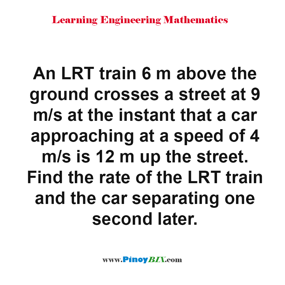 Find the rate of the LRT train and the car separating one second later.
