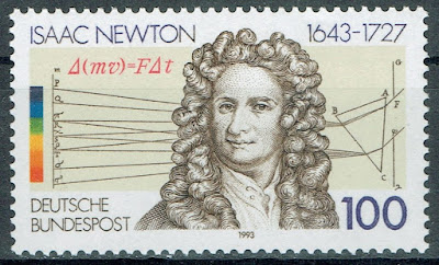 Isaac Newton publishes Philosophiæ Naturalis Principia Mathematica.stamp Germany