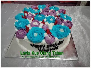 Kue Tart Ulang tahun Hias Bunga Mawar