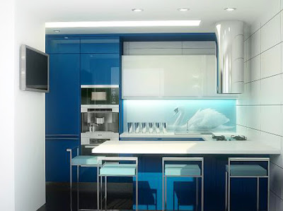 3D glass backsplash design with LED lights for small kitchen