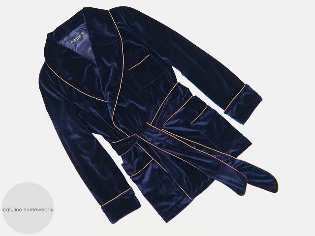 Mens navy blue velvet robe vintage gentleman dressing gown smoking jacket for men