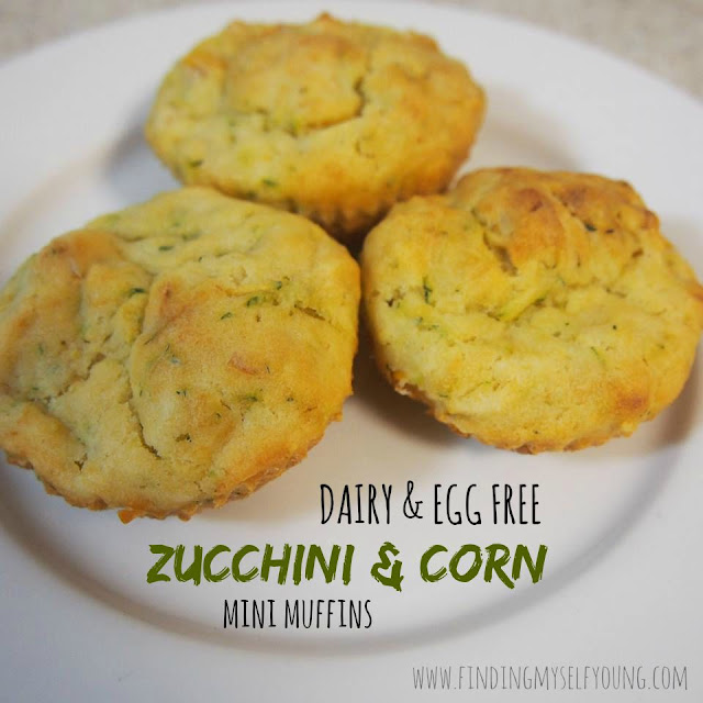 Dairy free {& egg free} zucchini and corn savoury mini muffins