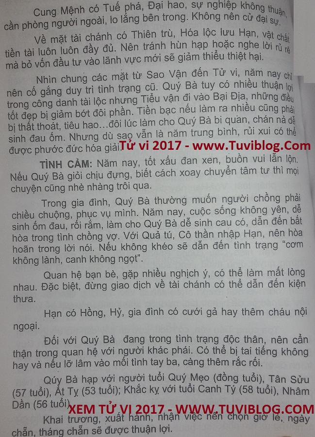 Xem tuoi Quy Mao 1963 nam 2017