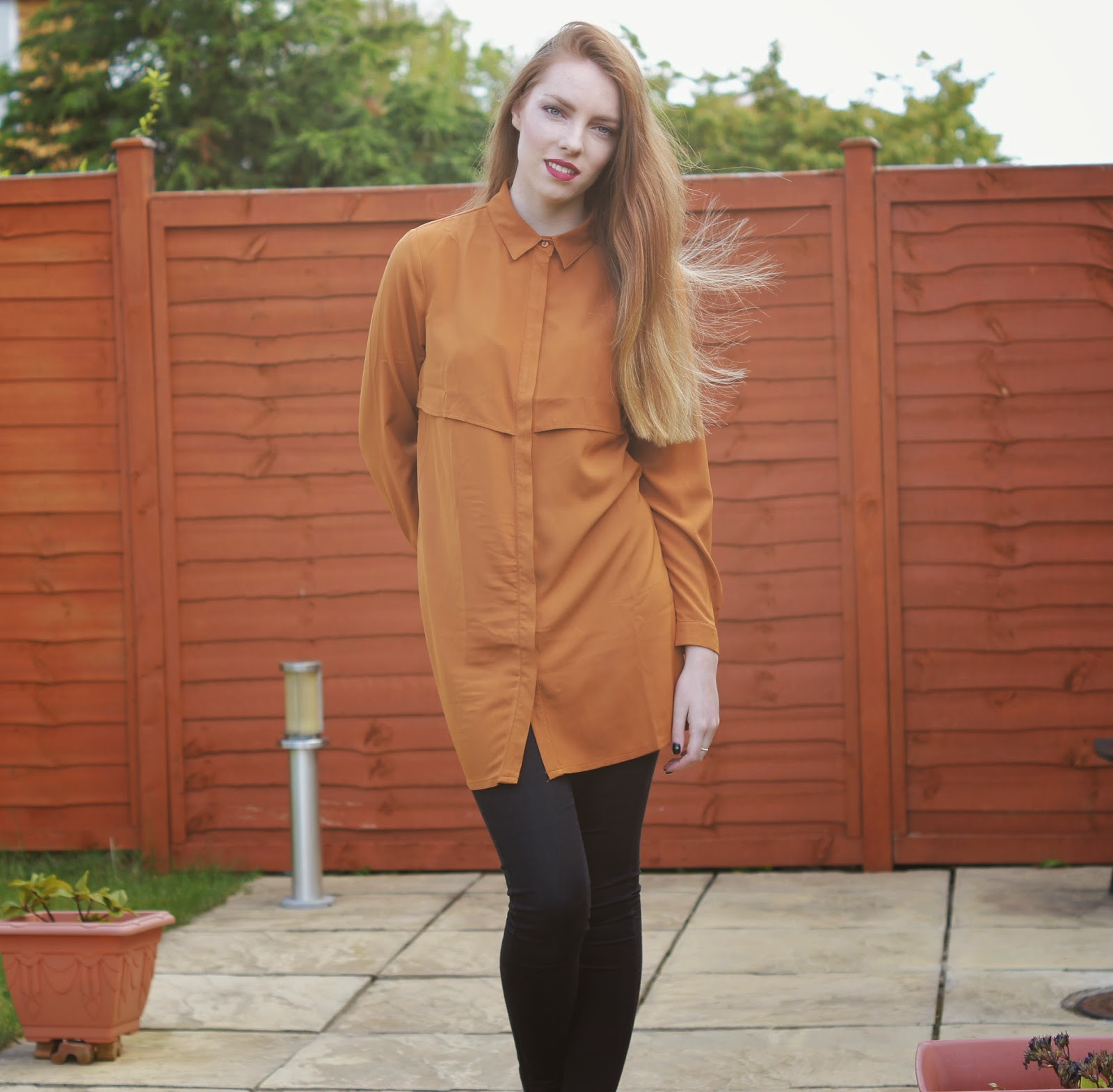 missguided rusty coloured shirt