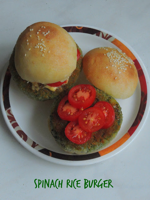 Palak Burger, Spinach Rice burger