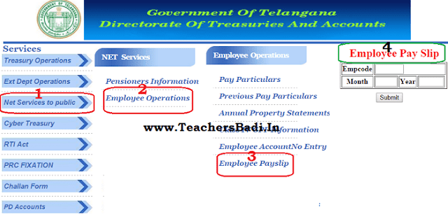 Online Employee Pay Slips,Salary Certificate,Online salary particulars,TS Employees