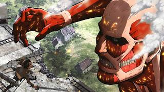 Tytan atakujący Erena Yaegera - tapeta z serialu Shingeki no Kyojin