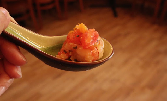 Shrimp cocktail with a papaya tomato salsa