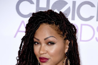 Close up of Meagan Good black goddess locs