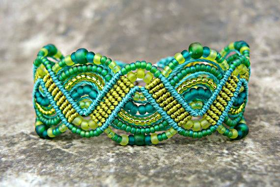 Lime and aqua micro macrame bracelet from Knot Just Macrame.
