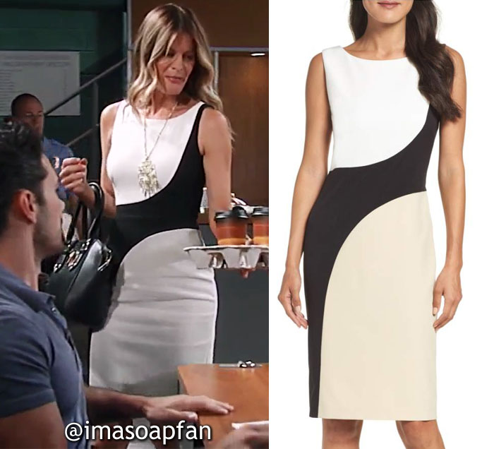 Nina Reeves, Michelle Stafford, Black White and Tan Colorblock Sheath Dress, General Hospital, GH