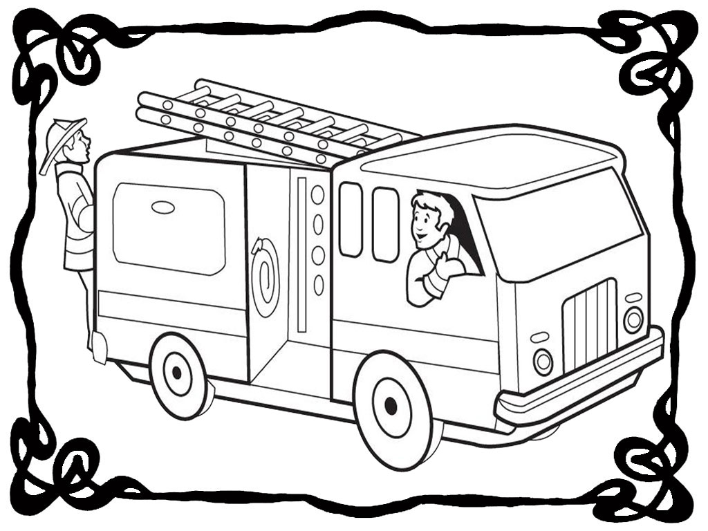 firetruck realistic coloring pages - photo#3